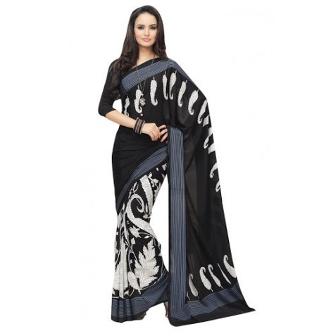 Black & White saree