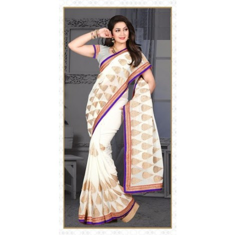 Majesty Ivory Embroidered Saree