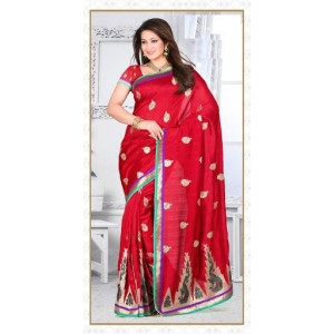 Divine Red Embroidered Saree
