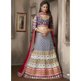 Grey & Red coloured lehenga