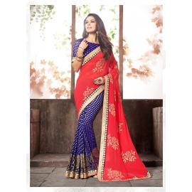 Women's Attractive Looking Ethnic Viscose Satin Orange Saree