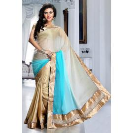 Splendorous Aqua Blue, Beige & Gold Color Embroidered Saree